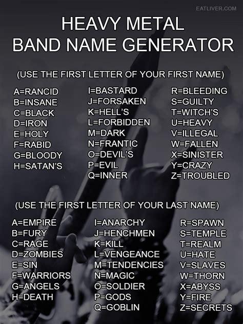 Heavy Metal Band Name Generator The Poke