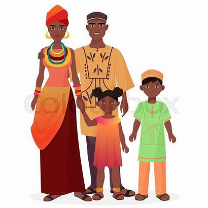 African Traditional Woman Clothes Boy Vector Clipart