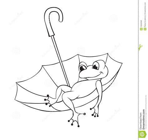frog  umbrella stock vector illustration  contour