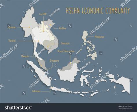 asean economic community aec map aec asean economic community asean map stock vector asea