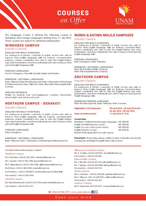 university  namibia courses  offer  language centre