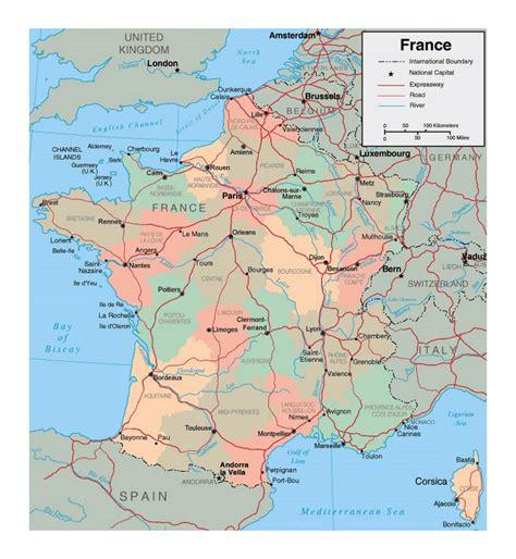 political  administrative map  france  major