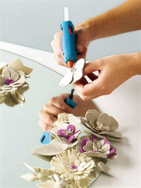 decoration craft ideas felt flowers for decorating wall mirrors with details