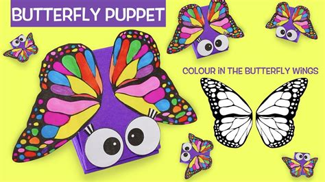 butterfly hand puppet template how to make a butterfly paper puppet color in the