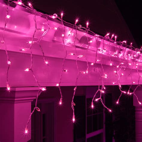 led pink icicles festive lights