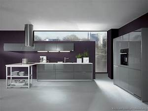 sleek modern kitchen i39m loving the eggplant colored wall With kitchen colors with white cabinets with gray and purple wall art