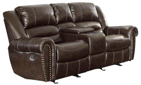 Glider Reclining Loveseat With Console by Center Hill Brown Glider Reclining Loveseat With