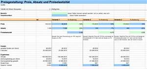 Deckungsbeitrag Berechnen Excel : zusammenhang zwischen preis absatz und preiselastizit t erkennen excel tabelle business ~ Themetempest.com Abrechnung