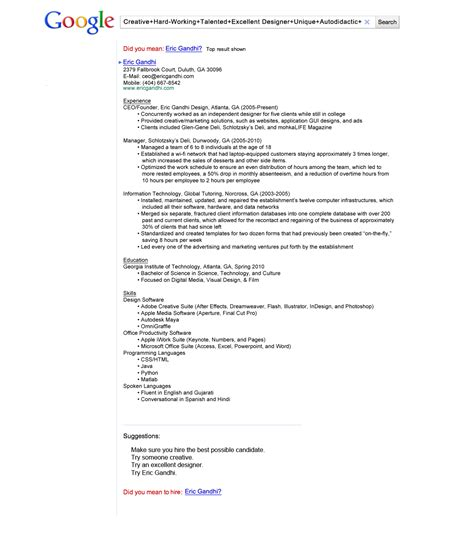 The Resume That Got Eric Gandhi A Job At Google  Can Your. Babysitting Resume Samples. Sample Internship Resume For College Students. Resume Verbs For Teachers. How To Make A Resume Sample. Ideal Resume Length. Sample Resumes For College Students With No Experience. Resume Format For Senior Management Position. Pharmacy Resume Example