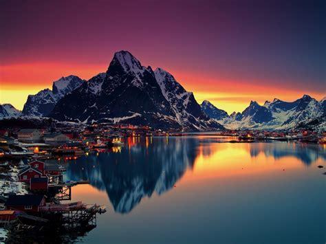 lofoten islands norway reine lofoten sunset mountain
