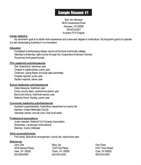 Agriculture Resume Templates by Resume Templates 27 Word Pdf Documents