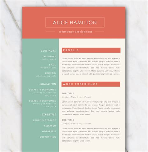 resume template  gree red   white color palette
