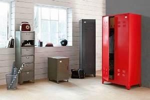 Armoire Metallique Chambre Ado : armoire vestiaire style am ricain en m tal couleur la redoute ~ Melissatoandfro.com Idées de Décoration