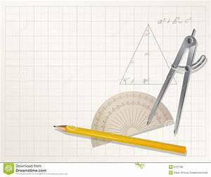 Drawing Tools - Pencil  Protractor  Divider Stock Vector