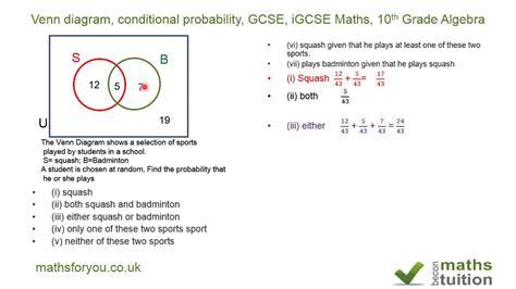 Venn Diagram Probability Question by Venn Diagram Conditional Probability Gcse Igcse Maths