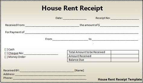 house rent receipt format free word templates
