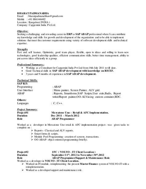 Abap Resume India by Bharat Padmanabha Sap Abap Resume Last Updated