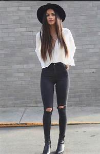 Black jeans cute fashion ootd outfit - image #4068755 ...
