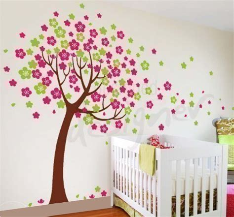 6 cherry blossom tree nursery wall decals removable