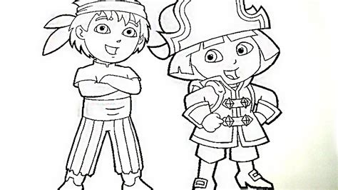 dora  diego play pirate coloring book pages