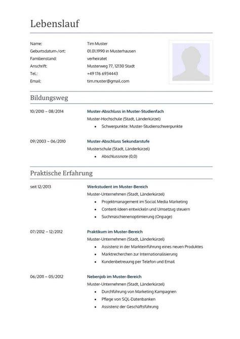 Bewerbung Lebenslauf Vorlage by Klassisches Lebenslauf Muster Zur Bewerbung In Dezentem