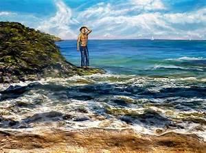 Tableaux Mer Et Plage : peinture homme sur la plage vague mer acrylique en relief 3d artiste peintre virginie trabaud ~ Teatrodelosmanantiales.com Idées de Décoration