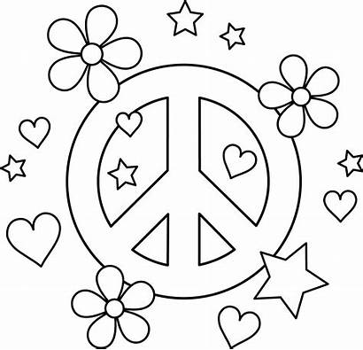 Coloring Peace Pages Flower