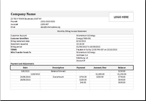 monthly billing invoice statement  excel excel templates