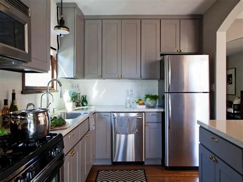 Grey Kitchen Cabinets With White Countertops Chromed