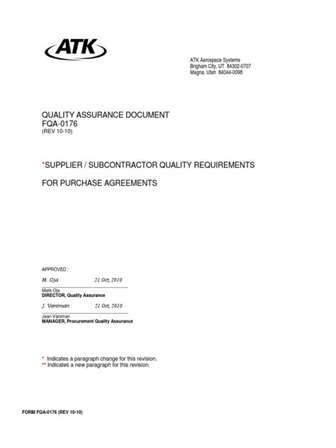 Supplier_Quality Requirements for Purchase Agreements Form