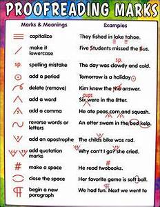 Proofreading Marks Chart Pdf The Parts Of Speech Poem Publishing Writing And