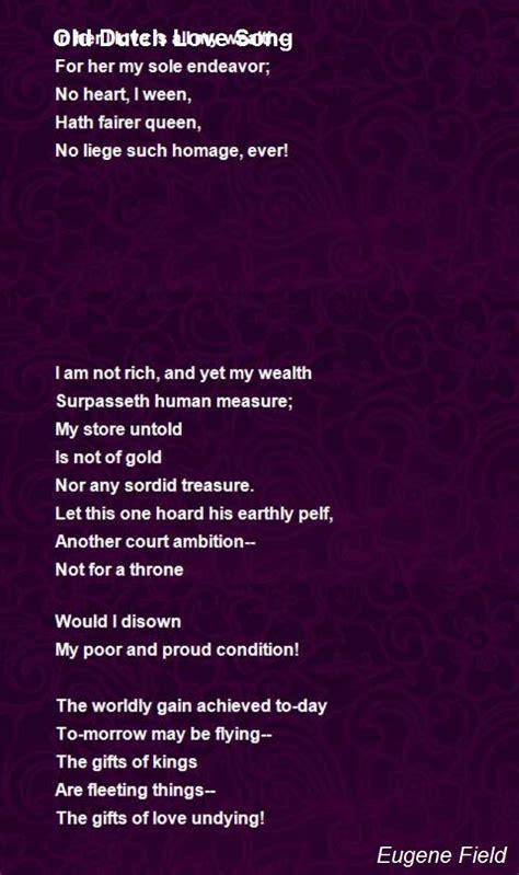 dutch love song poem  eugene field poem hunter