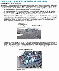 Battery Drain  Interior Fuse Box   Back Up 7 5a