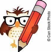 Clip Art Vector of owl and pencil csp4419436 - Search ...