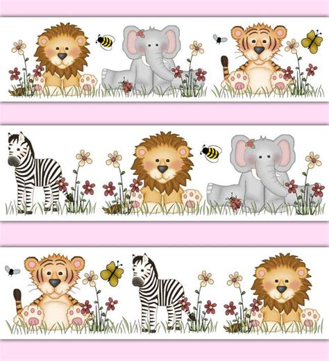 Animal Border Wallpaper - jungle animals wallpaper border wall decals zebra zoo