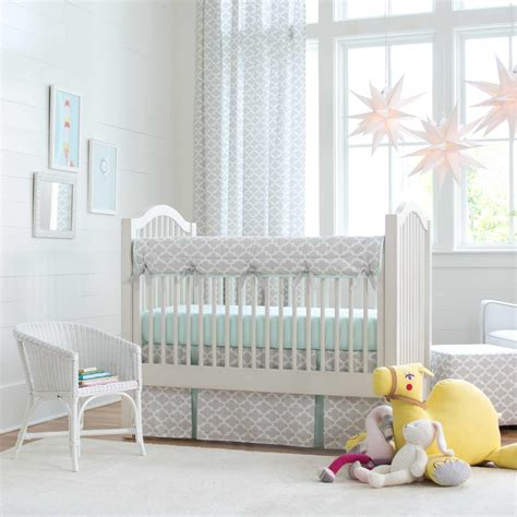 french gray  mint quatrefoil crib bedding carousel