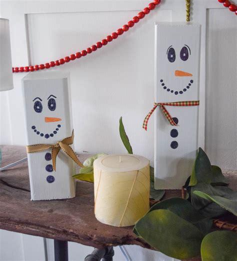 wooden snowman craft easy christmas decoration idea