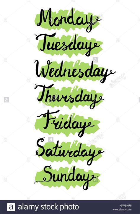 Hand drawn weekdays. Seven days lettering. Calendar ...