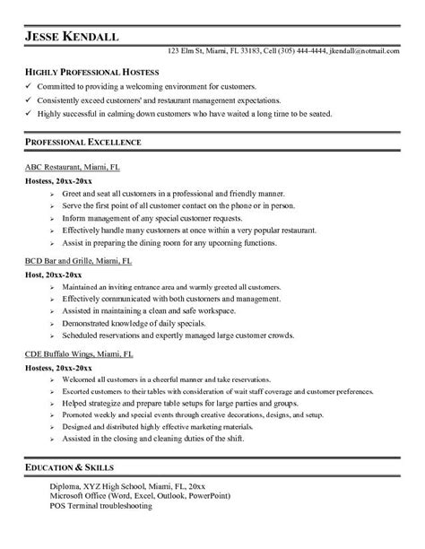 doc 9451223 hostess resume waitress resume sle no