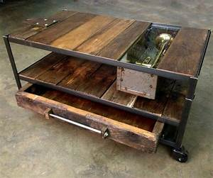 Custom made industrial coffee table with rustic wood and for Industrial wood coffee table with wheels