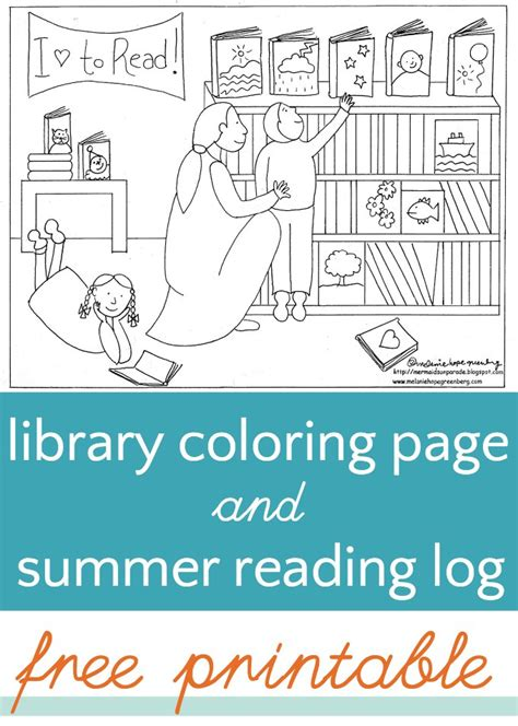 Library Coloring Page (and Summer Reading Log