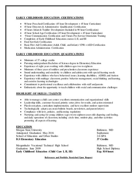 Child Care Resume Qualifications by Child Care Resume 2014