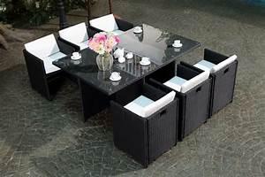 Table De Jardin Resine : table de jardin encastrable 6 places r sine tress e noire coussin blanc miami ~ Teatrodelosmanantiales.com Idées de Décoration