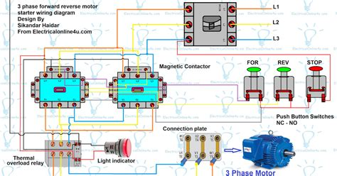 3 Pole Push Button Diagram by Forward Motor Diagram For 3 Phase Motor