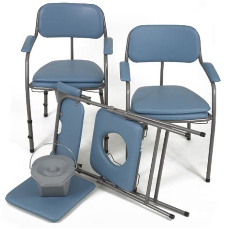 chaise percée pliante chaise toilettes pliante omega h407 bleue invacare