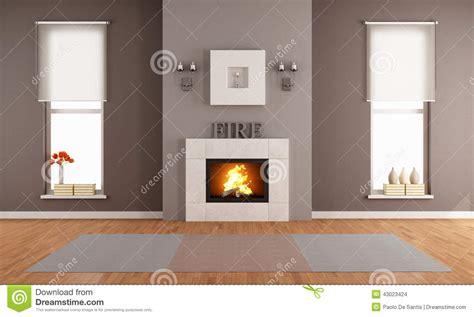 modernes wohnzimmer mit kamin stock abbildung