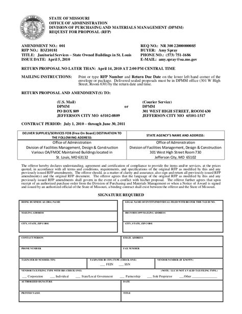 Build Document Template by Rfp Document Template