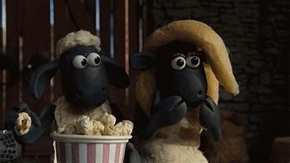 Giphy Gifs Sheep Shaun Scared Horror Popcorn