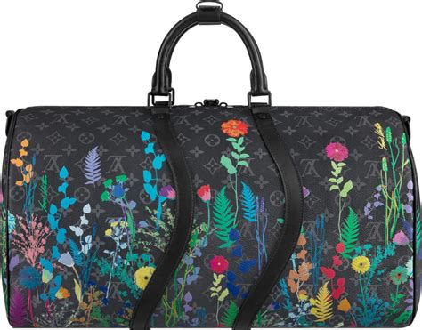 louis vuitton black eclipse floral print keepall  duffle bag incorporated style