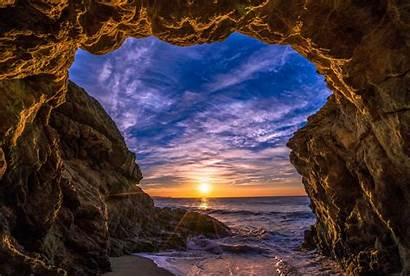 Cave Malibu Beach California Sunset Ocean Sun